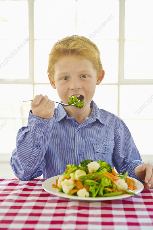 Smiling boy eating plate of vegetables