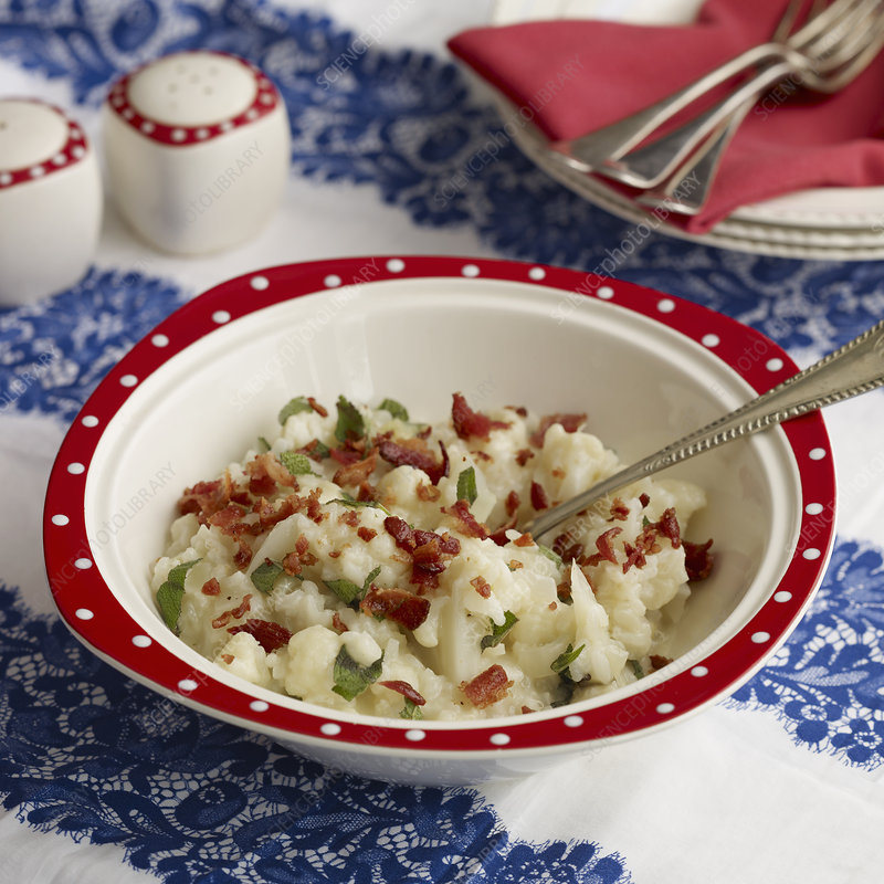 Bowl of cauliflower bacon risotto