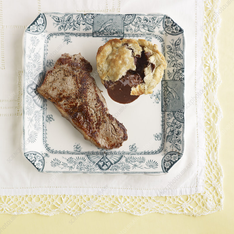 Plate of steak with mushroom pudding
