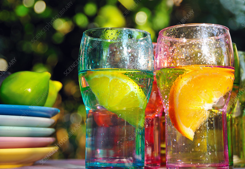 Fruity drinks in colorful glasses