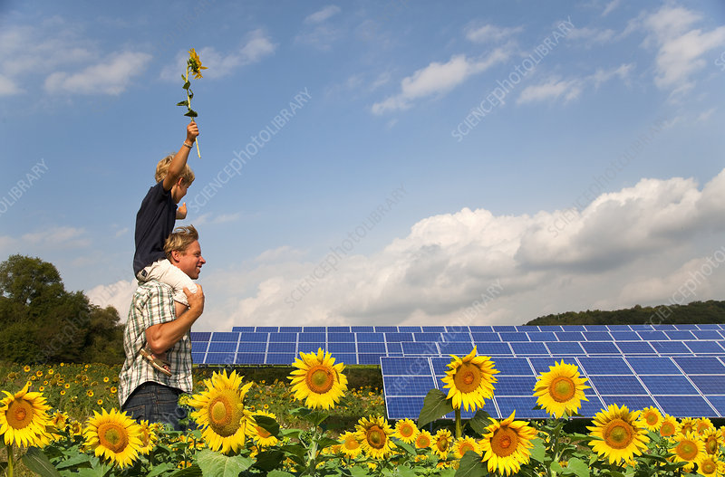 Father and son in field by solar panels