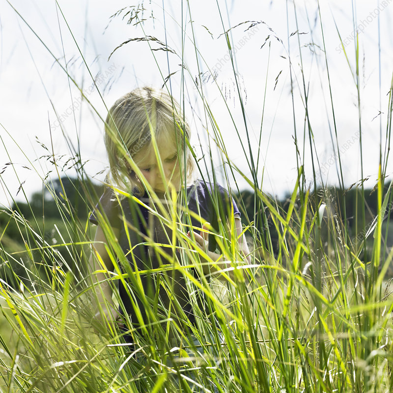 Girl hiding behind tall grass
