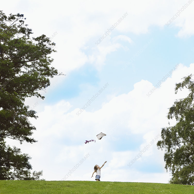Girl flying kite in field