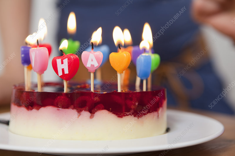 Close up of candles in birthday cake