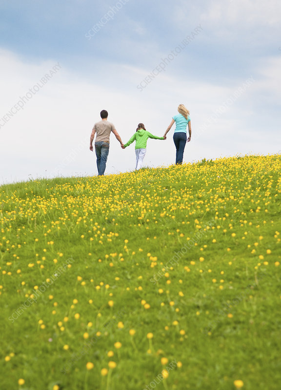Family walking and holding hands