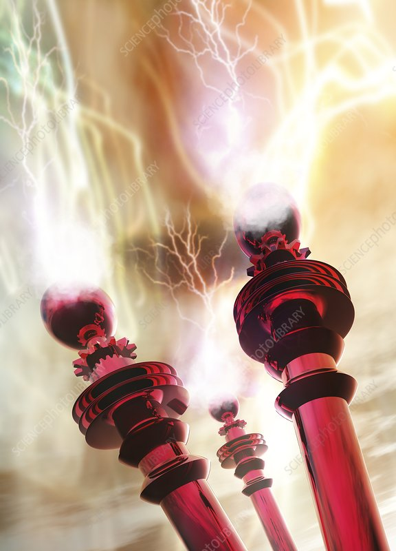 Tesla coils firing, artwork
