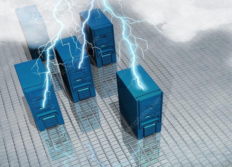 Lightning striking computers, artwork