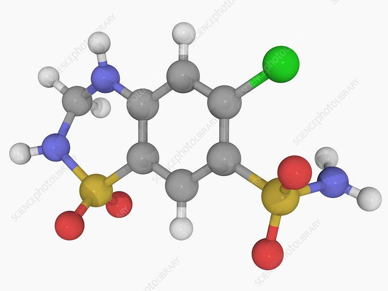 Hydrochlorothiazide drug molecule
