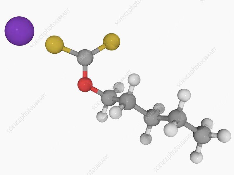 Potassium amyl xanthate molecule - Stock Image F004/6581 ...