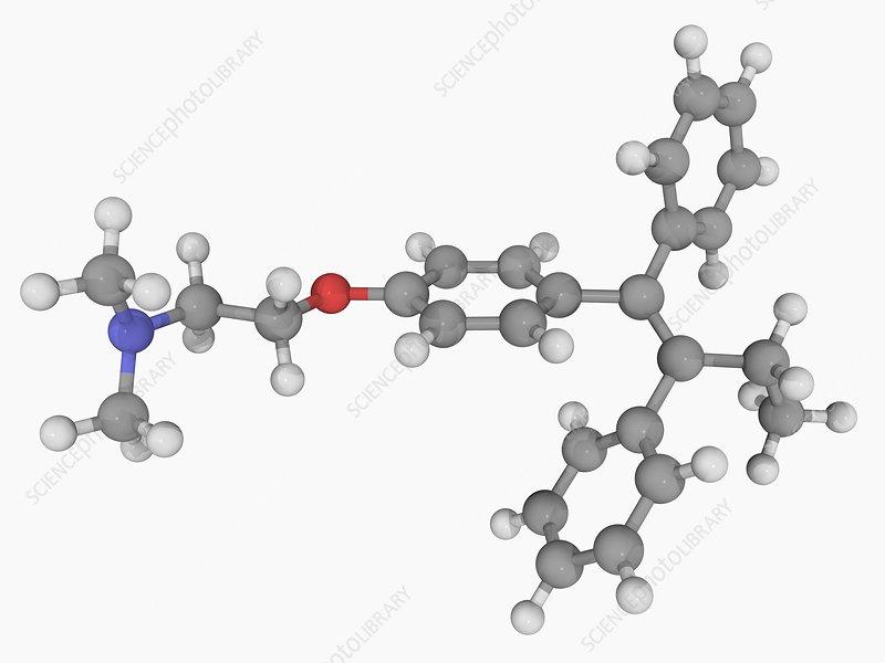 Tamoxifen drug molecule
