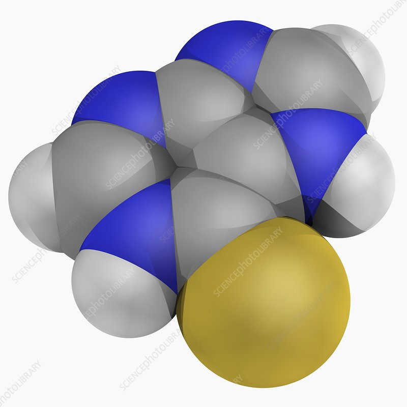 Mercaptopurine drug molecule