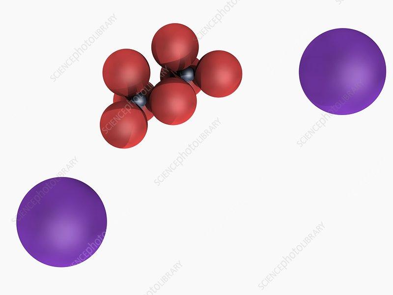 Potassium dichromate molecule - Stock Image F004/7305 ...