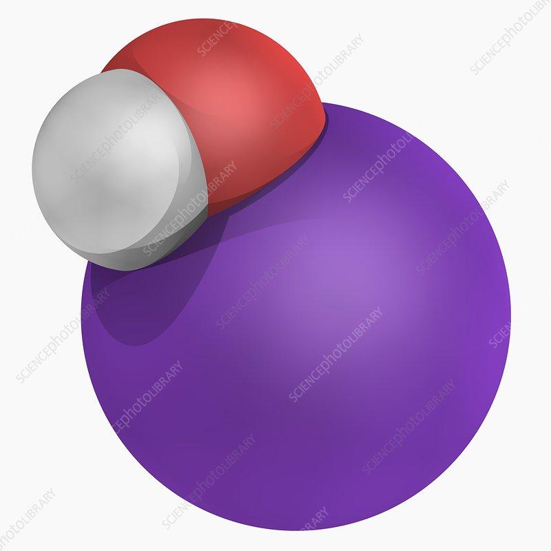 Potassium hydroxide molecule - Stock Image F004/7306 ...