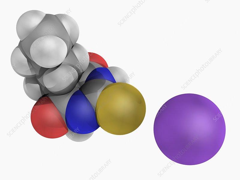 Sodium thiopental drug molecule