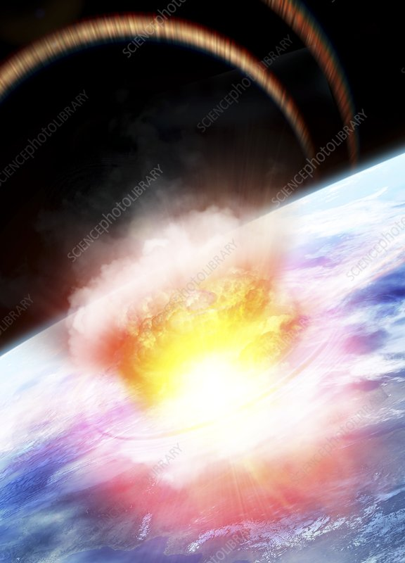 Asteroid impact seen from space, artwork
