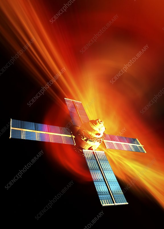 Solar flare hitting satellite, artwork