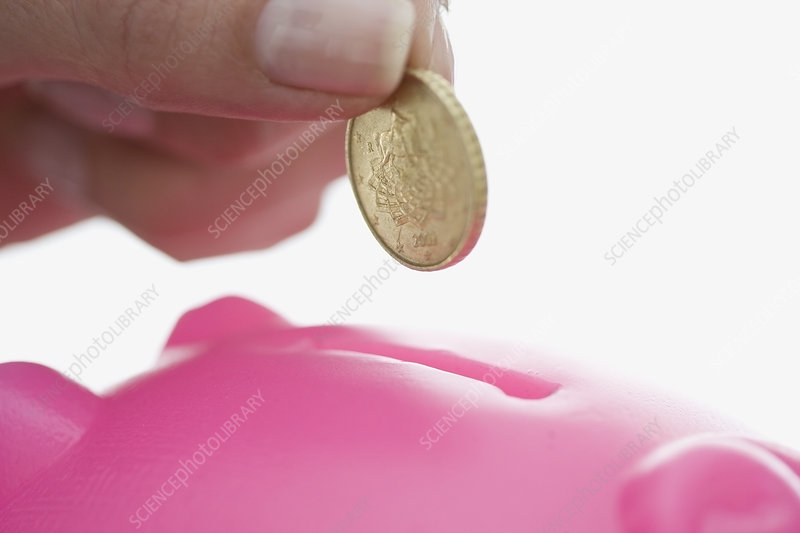Close up of woman feeding piggy bank