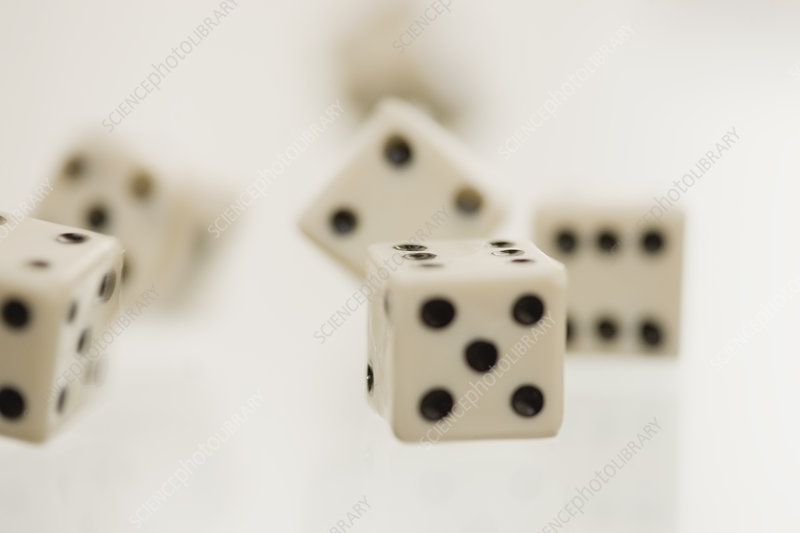 Close up of tumbling dice