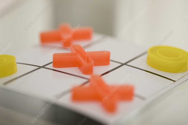 Close up of tic tac toe pieces