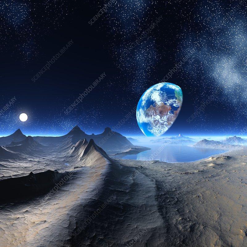 Earth-like alien planet, artwork - Stock Image F005/0120 ...