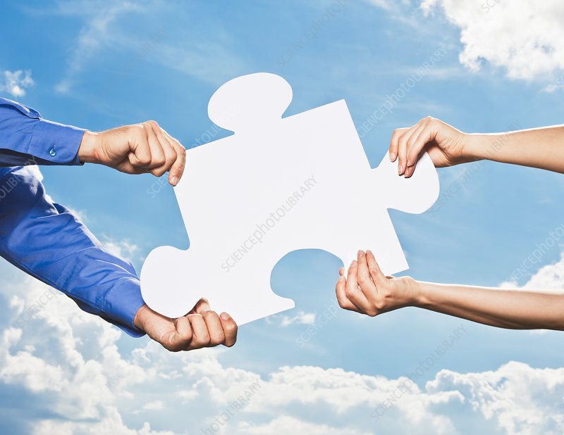 Business people grabbing puzzle piece