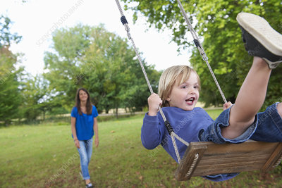 boy playing on swing in backyard stock image f005 1178 science