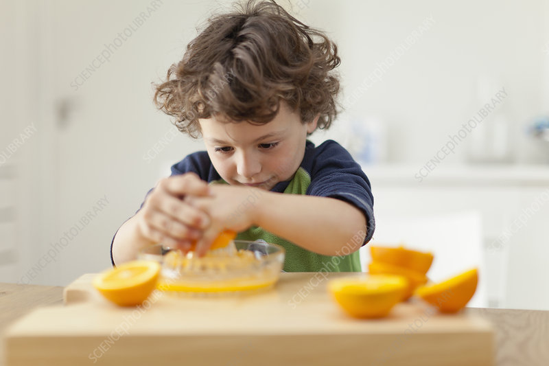 Boy squeezing oranges to make juice