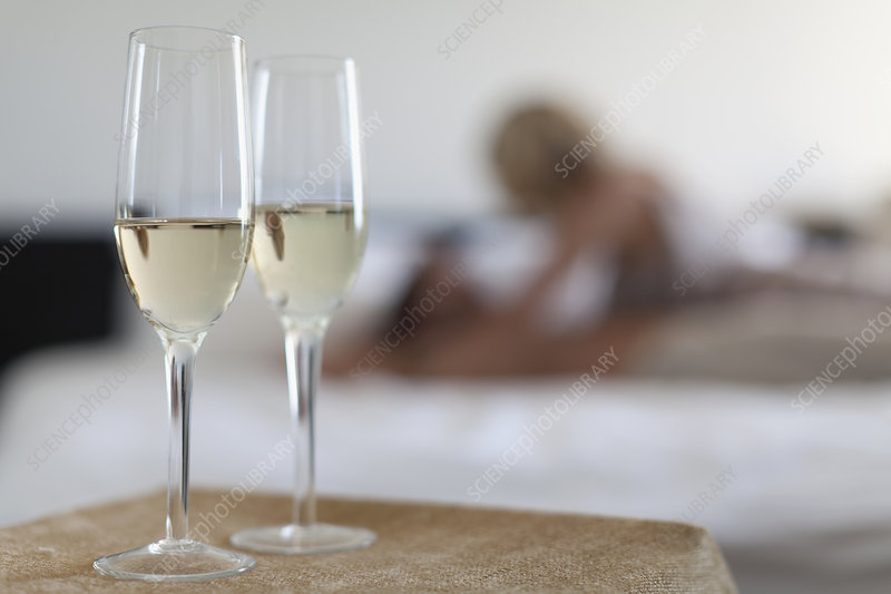 Champagne glasses in bedroom