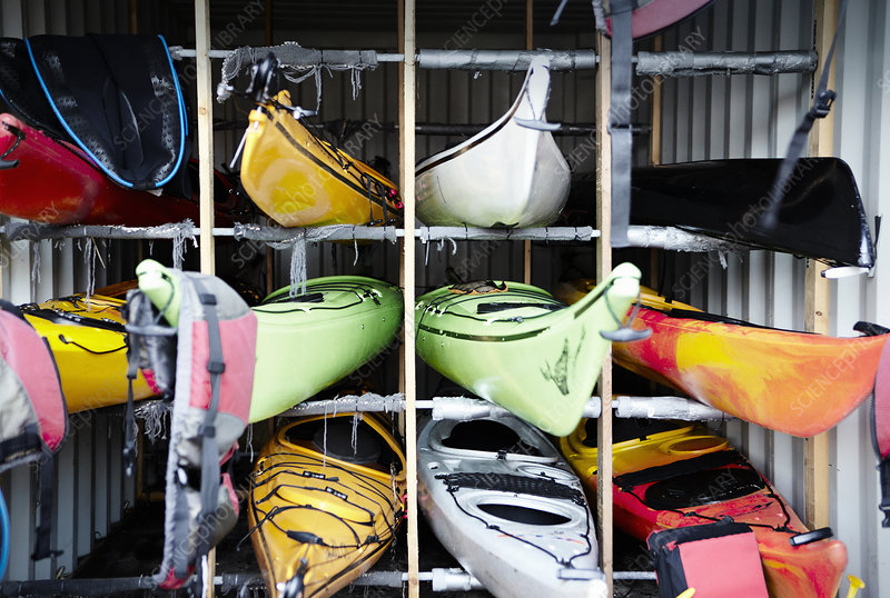 Kayaks stacked in cubes