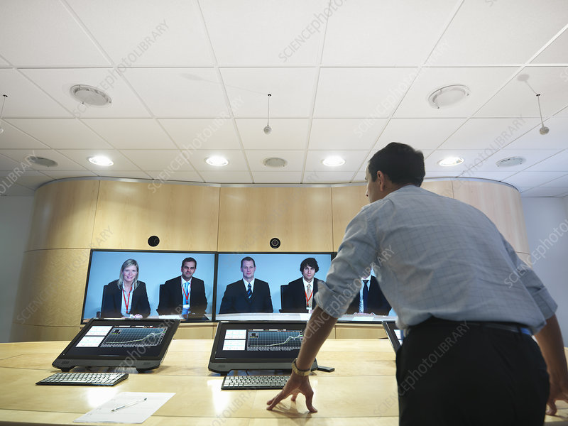 Business people having video conference