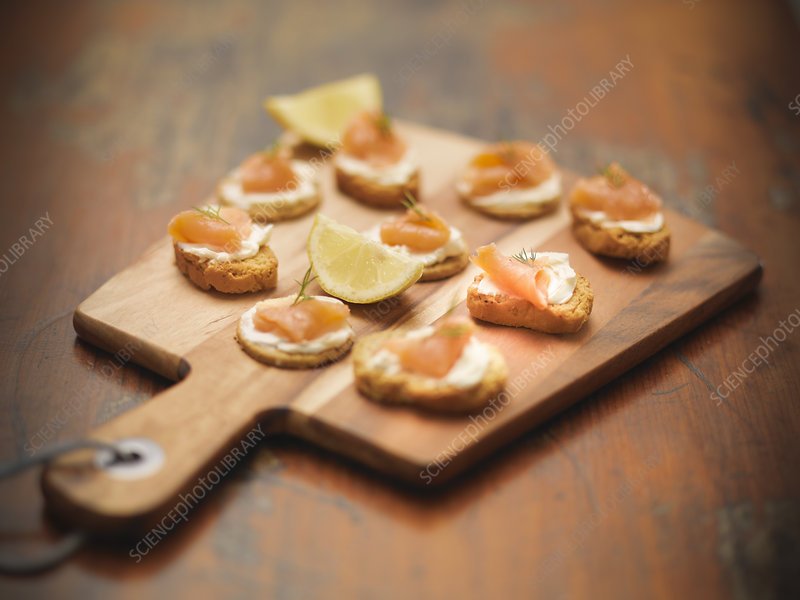 Plate of salmon, cheese and crackers