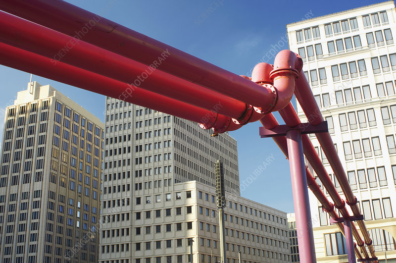 Close up of red pipes in city center
