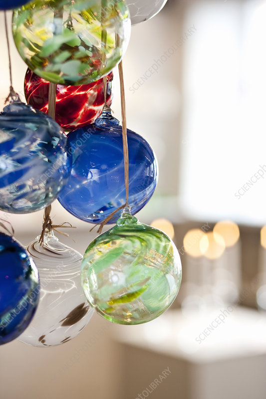 Close up of ornate glass ornaments