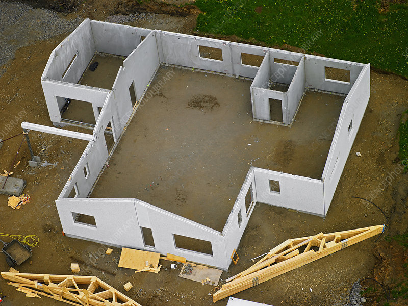 Aerial view of structure of house