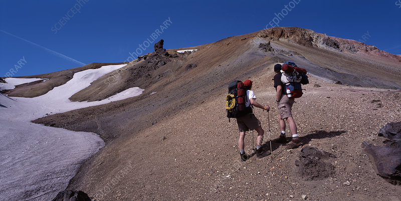 Hikers on Laugarvegur trail in Iceland