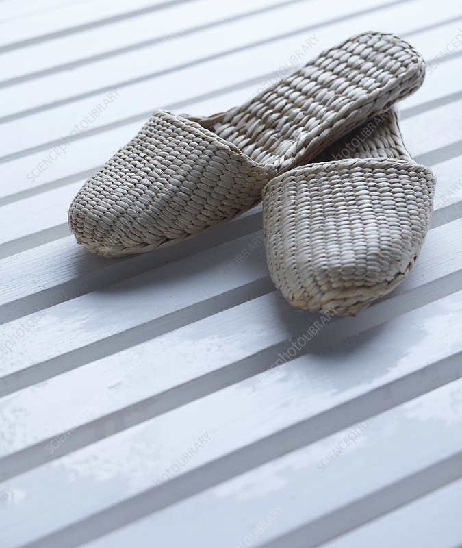 Close up of woven slippers