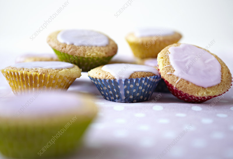 Close up of iced cupcakes
