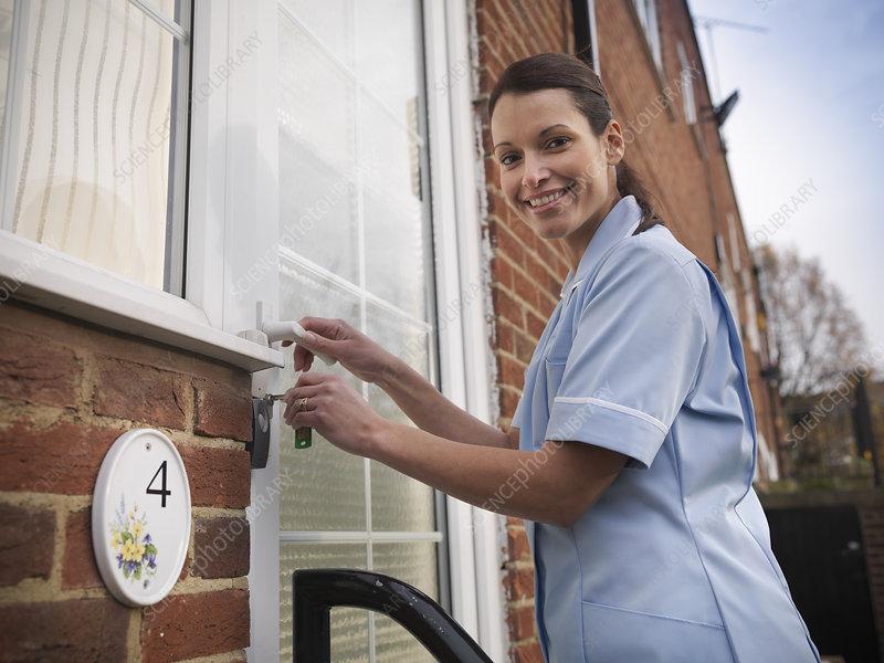 Nurse unlocking front door