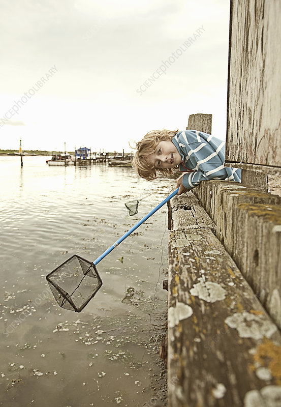 Boy fishing with net on pier