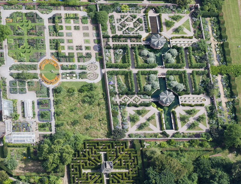 Aerial view of manicured park