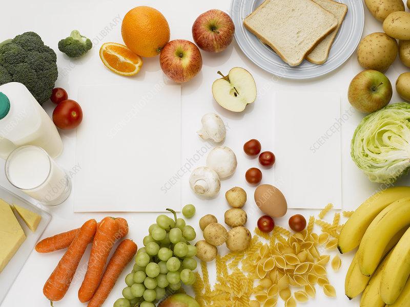 Overhead view of healthy foods