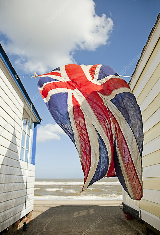Union jack flag blowing in wind