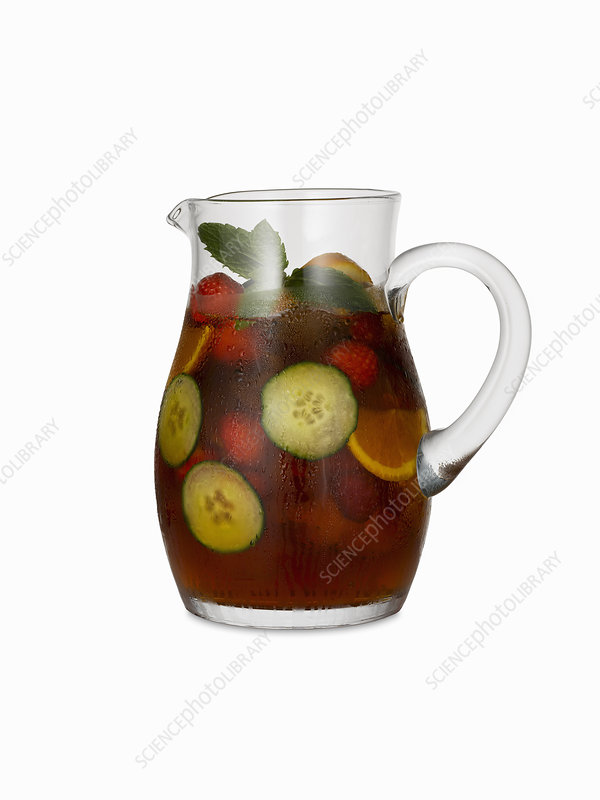 Pitcher of fresh fruit cocktail