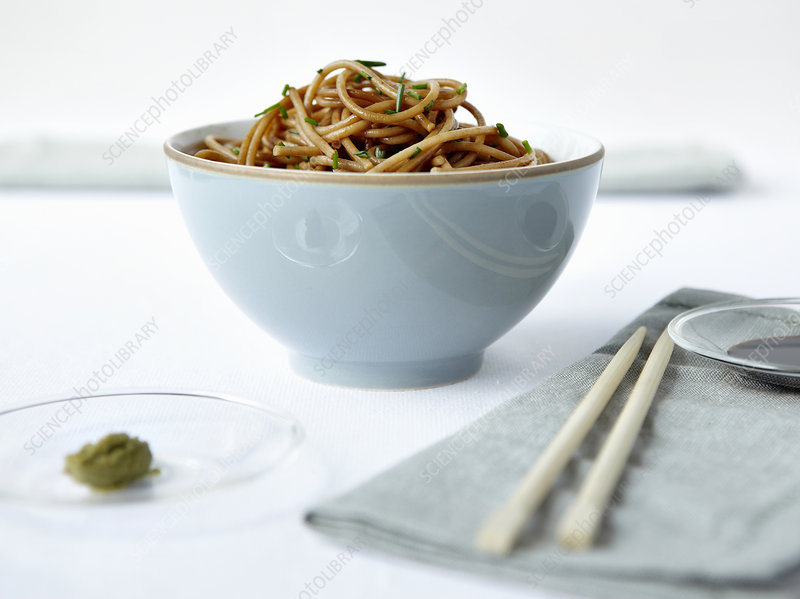 Bowl of noodles with chopsticks