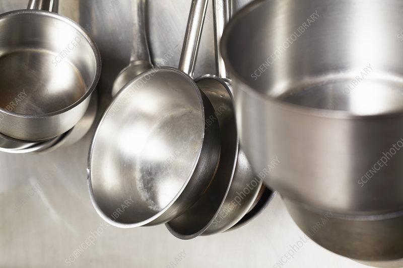 Close up of stainless steel pans