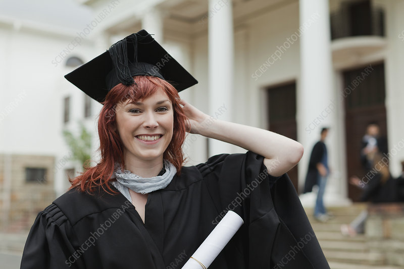 Graduate with her degree on campus