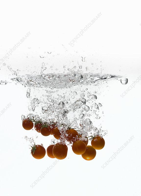 Cherry tomatoes splashing in water