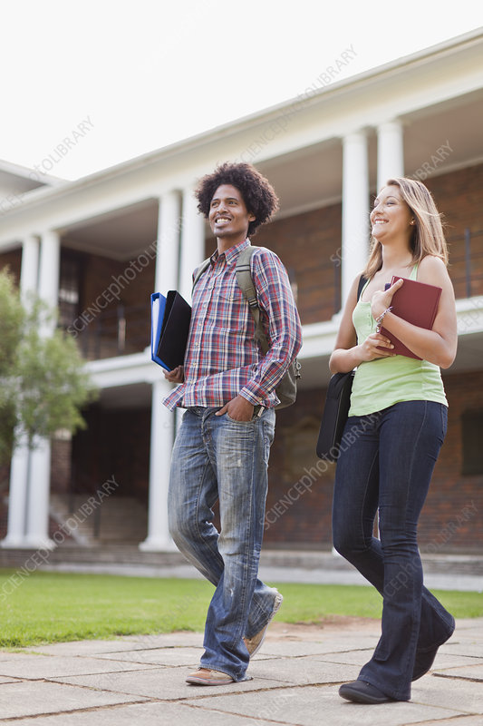 Students laughing together on campus