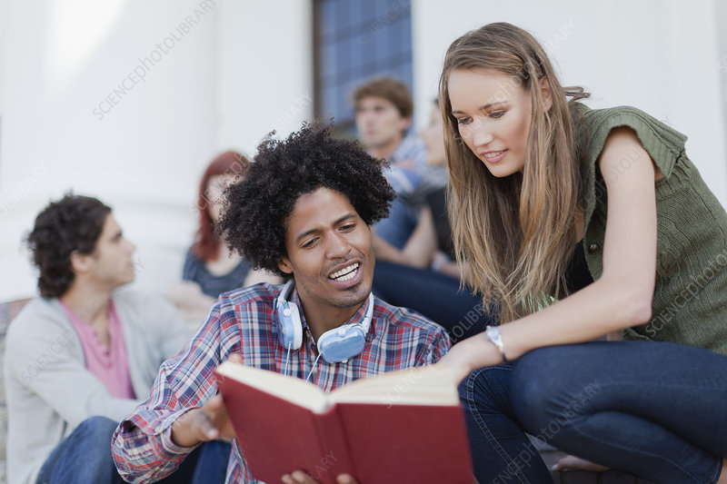 Students studying together on campus