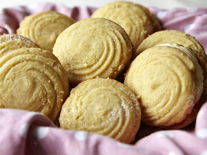 Close up of basket of sandwich cookies